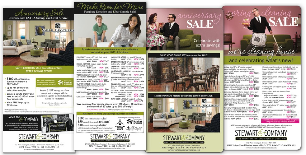 Selection of ads for Stewart & Co.